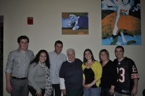 Contributed photo: Richard Molloy, Jenna Dascanio, Brian Lombardo, Sr. Rita, Christine Barber, Sarah Allen and Preston Reilly attended the re-opening of the Great Room to celebrate the additions.