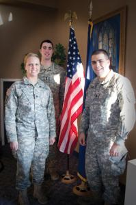 Mercyhurst photo: Seniors Lindsey Bostwick, Adam King and Matt Terrigno are the top three ROTC graduates this year.