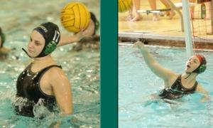 Ed Mailliard photo: Cailin Jope and Jesse Sworden earn CWPA Southern Division Awards after the Mercyhurst University waterpolo team won the CWPA Division II Championship.