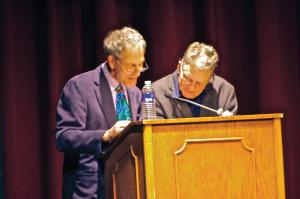 Zach Dorsch photo: Science fiction author Terry Bisson, right, read with Ken Schiff, Ph.D., from his dialogue of