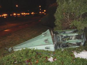 Alicia Cagle photo: High winds on the evening of Tuesday, Jan. 17, toppled the steeple off the Christ the King Chapel.