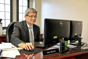 Nhi Tran photo: Nguyen, the new vice president of finance and administration, plans to work with the new Mercyhurst president to bring financial stability to the university.