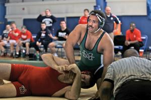 Mercyhurst Sports Information photo: Fred Hale continued his stellar senior season after beating Shippensburg's Jacob Nale. Hale is now 26-6 on the season and was named PSAC wrestler of the week.