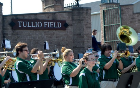 The Mercyhurst athletic band amps up school spirit at a tailgate before last Friday's football game.  The athletic band also performs the National Anthem and Mercyhurst's alma mater before the football game begins.