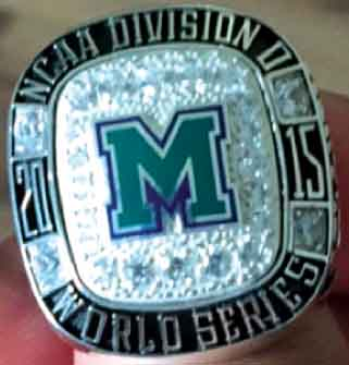 The rings represent the baseball team winning the Atlantic Region Championship and playing in the DII College World Series.
