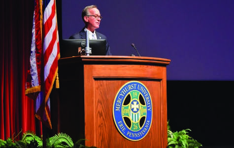 President Michael T. Victor addresses Mercyhurst faculty and staff in the Mary D'Angelo Performing Arts Center