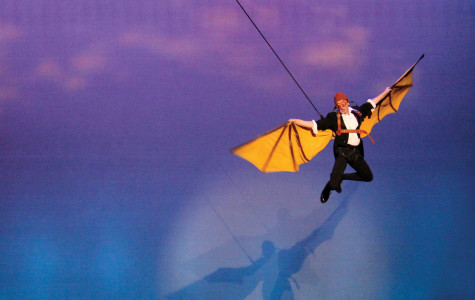 Thomas Kubinek soared high above the audience during his theatrical performance in the Mary D'Angelo Performing Art Center.