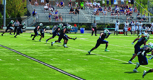 The Mercyhurst football team's victory gave them their first season opener win in four years.  Junior kicker Dylan Kondis (93) kicks  the ball during a kick-off for the Lakers (pictured to the left). Kondis went 5 for 5 in kicking extra points during the game.