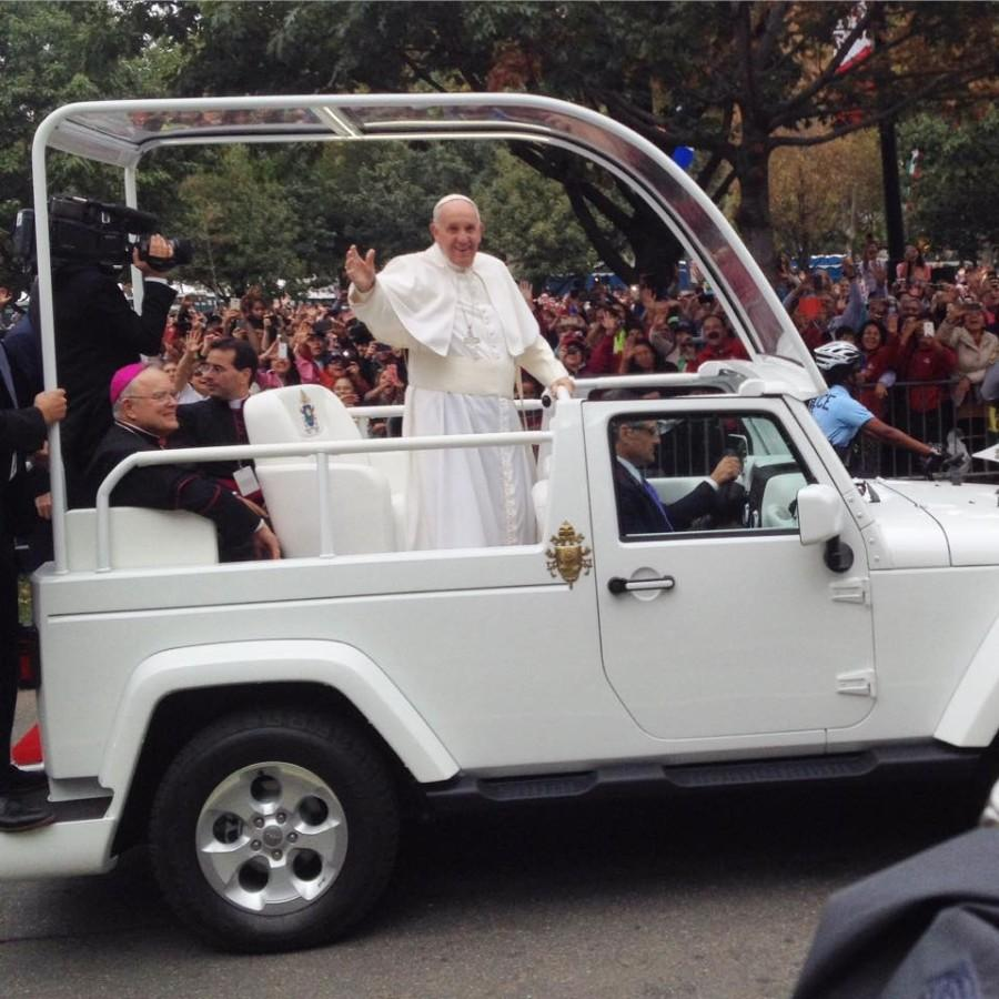 A total of 51 Mercyhurst students and five adult members of the Mercyhurst community successfully traveled to Philadelphia on Saturday, Sept. 26 to attend mass with Pope Francis at the World Meeting of Families on Sunday, Sept. 27. The pope made rounds through the streets of Philadelphia on his popemobile prior to mass to greet the volumes of eager attendees.  Watch for more coverage about this historic pilgrimage in next week's issue of the Merciad!