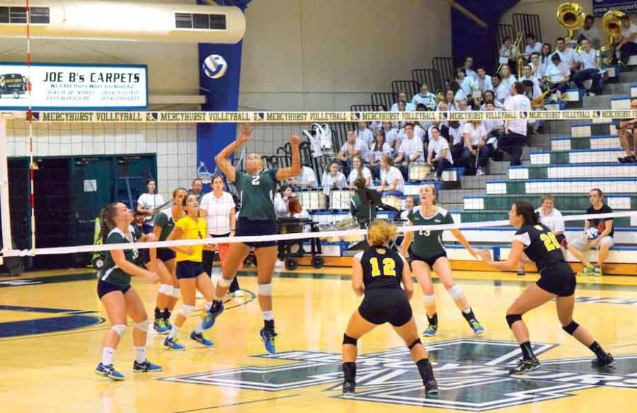 The+Mercyhurst+volleyball+team+increased+their+record+to+7-8+after+being+2-6+following+the+first+two+weeks+of+playing+away+games.+