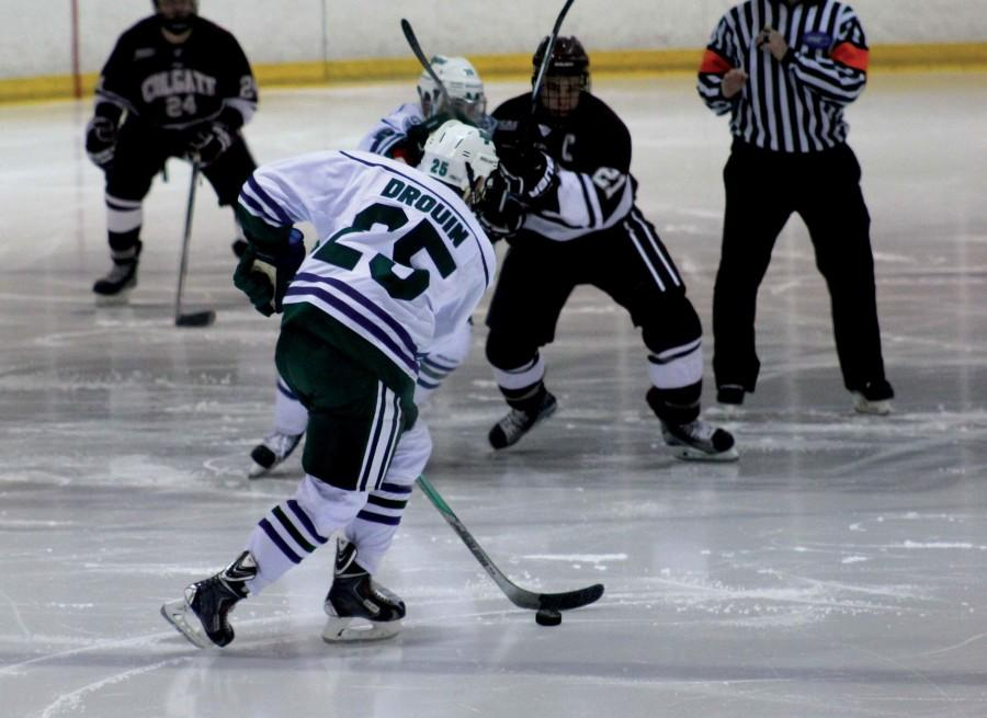 Junior Philippe Drouin (25) scored during the Lakers 9-7 rally victory on Sunday for their first win of the season.