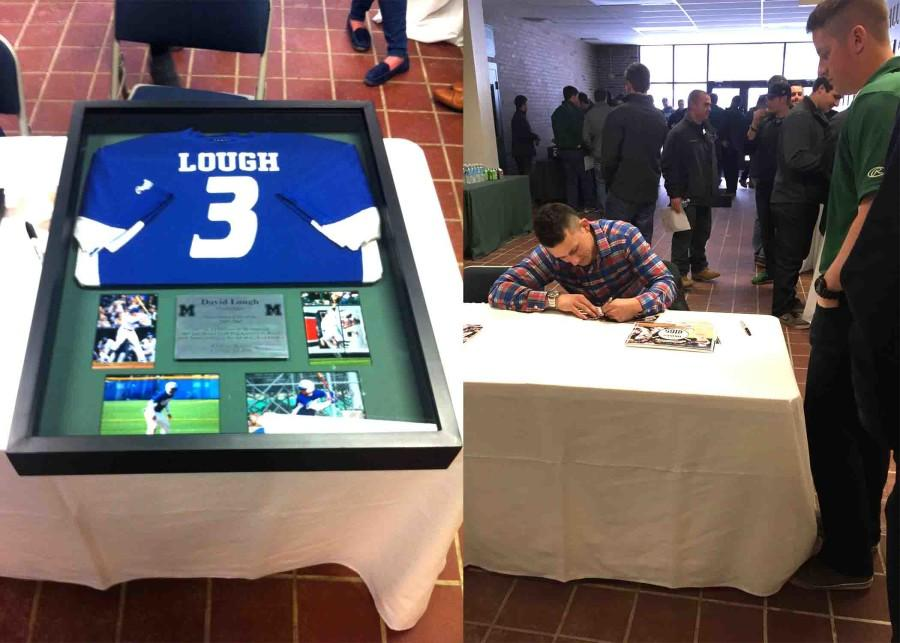 (Left) Lough's retired jersey on display with a plaque and pictures from his Mercyhurst baseball career. (Right) Lough signs an autograph for Matt Swartz during a meet-and-greet.