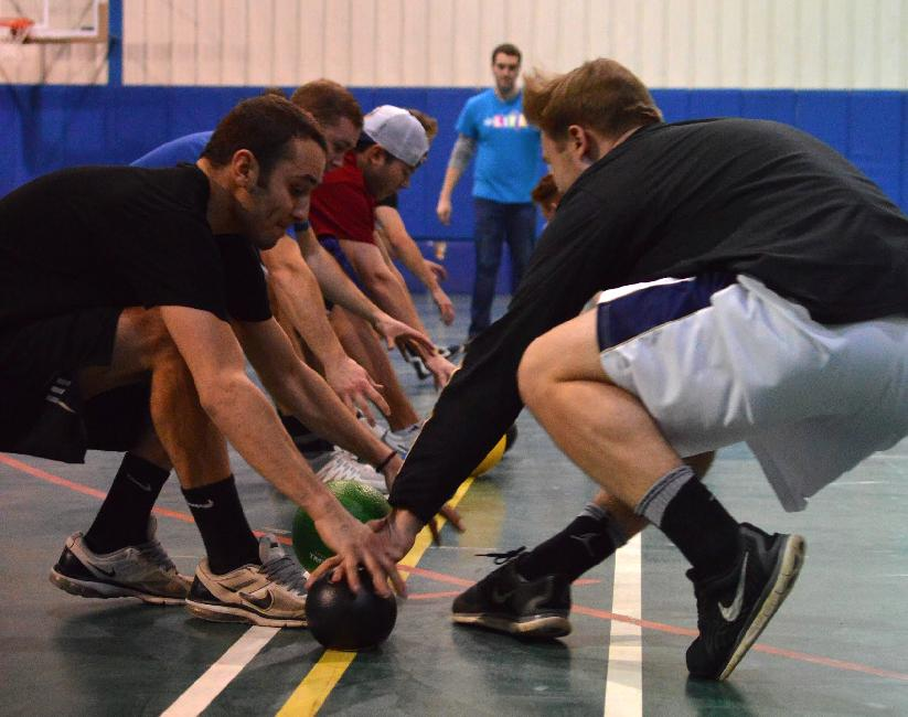 Participants battle it out in the final rounds of the Colleges Against Cancer Dodgeball Tournament.