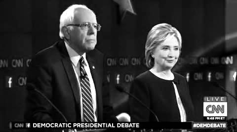 Sen. Bernie Sanders and Hillary Clinton debate on CNN Oct. 13, 2013.