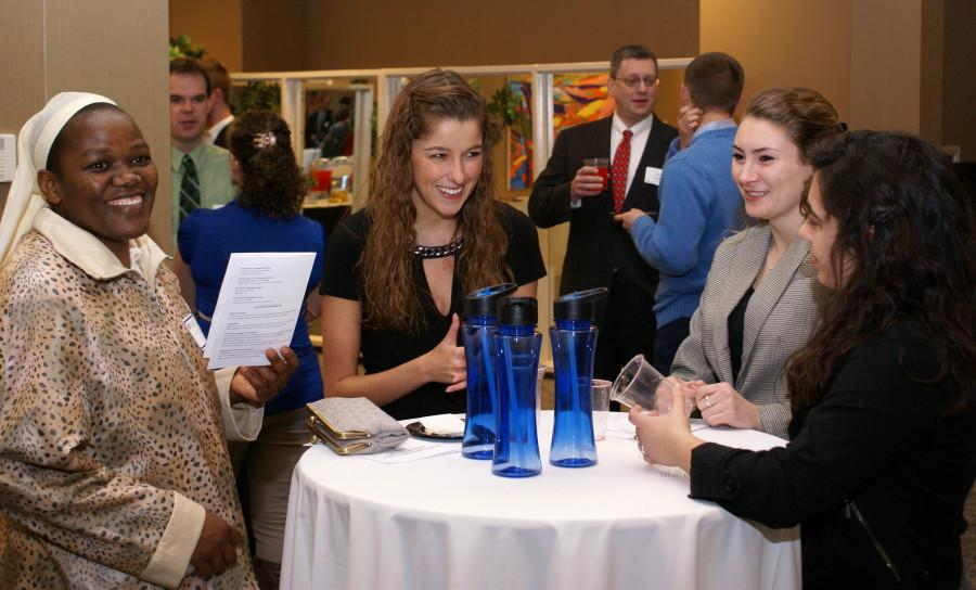 Although the number of attendees was not outstanding, several students enjoyed mingling with alumni during the Career Development Center's Career Networking Night.