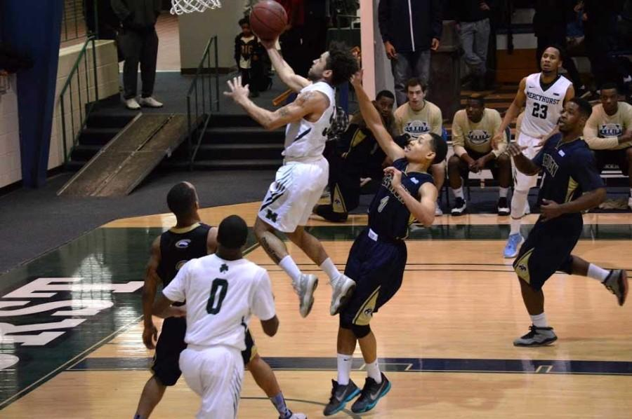 Junior H'ian Hale shoots a layup in Mercyhurst's 84-68 win over Clarion in the quarterfinals game on Tuesday, March 1. With the win the Lakers advance to the PSAC semifinals.
