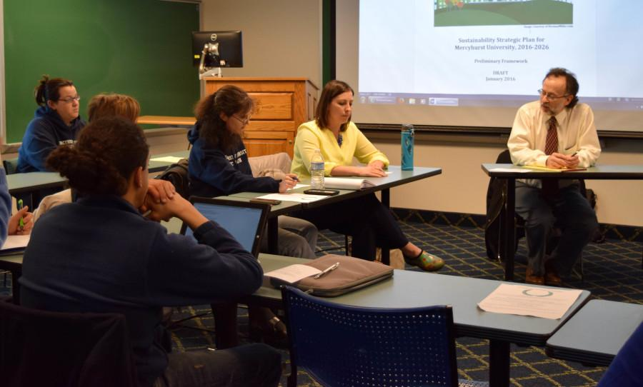 Chris Magoc, Ph.D. led the Sustainability Committee meeting to help increase Mercyhurst's efforts in going green.