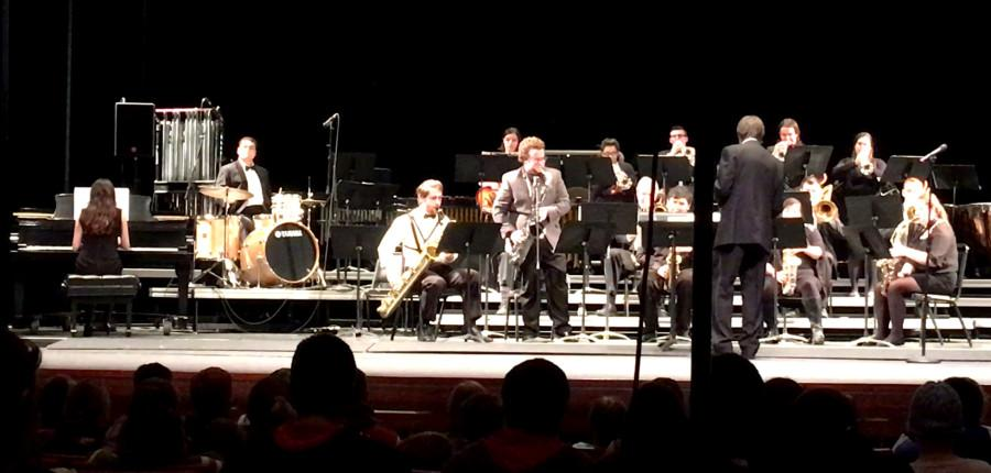 The Mercyhurst University Jazz ensemble performing at the Prism concert during Tri-State festival.