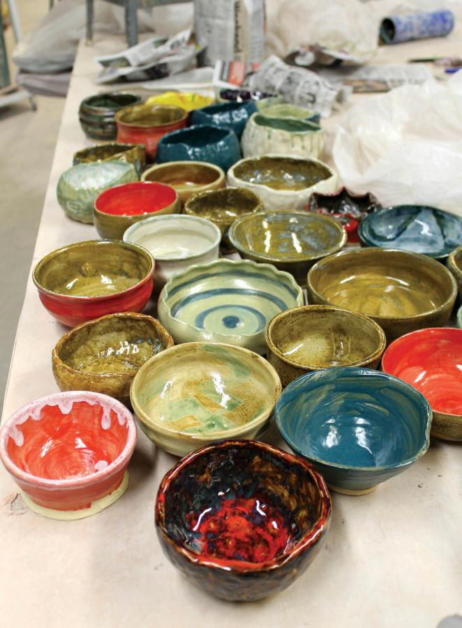 Mercyhurst+students+crafted+and+painted+a+majority+of+the+bowls+that+will+be+sold+during+this+year%E2%80%99s+Empty+Bowls+event.+The+dinner+is+Sunday%2C+April+10%2C+from+4+p.m.+to+6%3A30+p.m+in+the+Laker+Inn.+