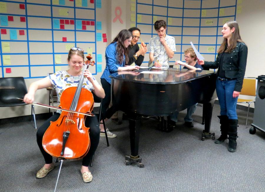 The Composition students, who will be premiering their works, are preparing for the concert.