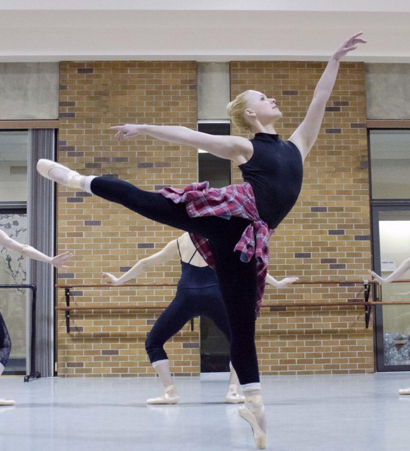 Senior Marta Timmerman rehearses 'Interstellar Journey.'