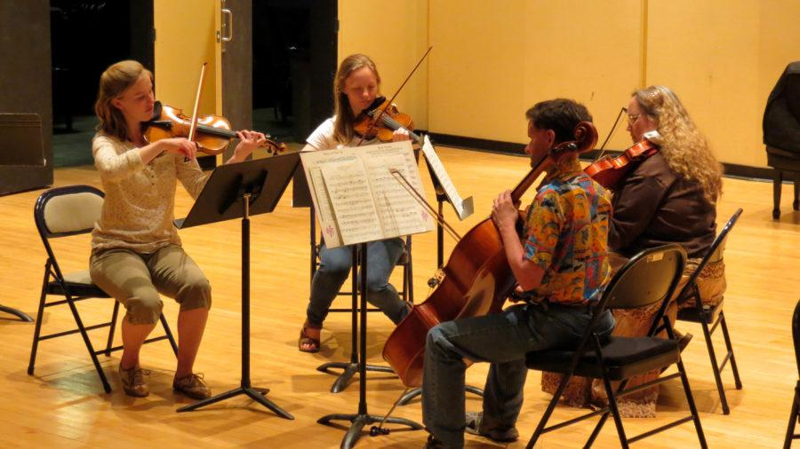 One of the small ensembles, the String Ensemble, rehearsing for the upcoming performance.