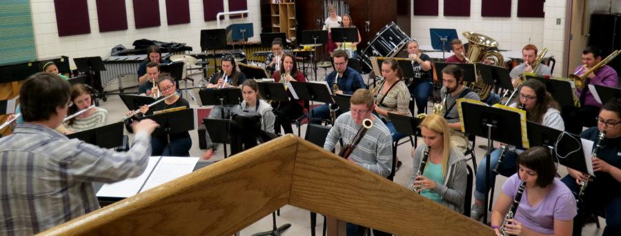 The Wind Ensemble rehearsing for the upcoming concert directed by Scott Meier, Ph.D.