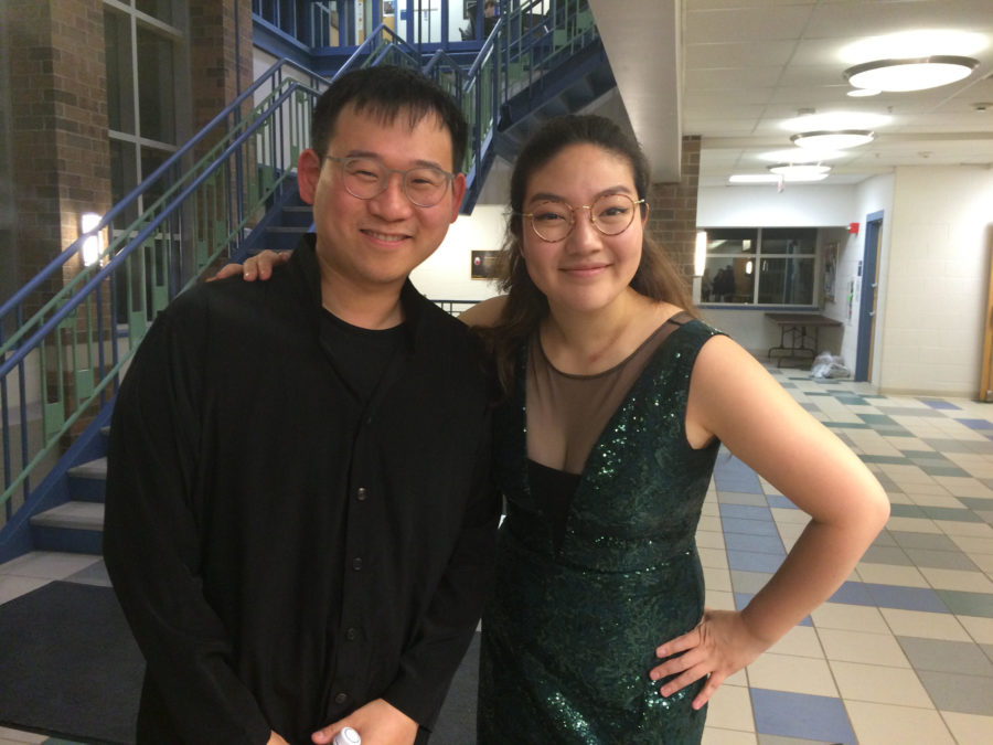 Hyun Soo Kim, pictured left, and Jinjoo Cho, pictured right, after their performance Monday night in Walker Recital Hall.
