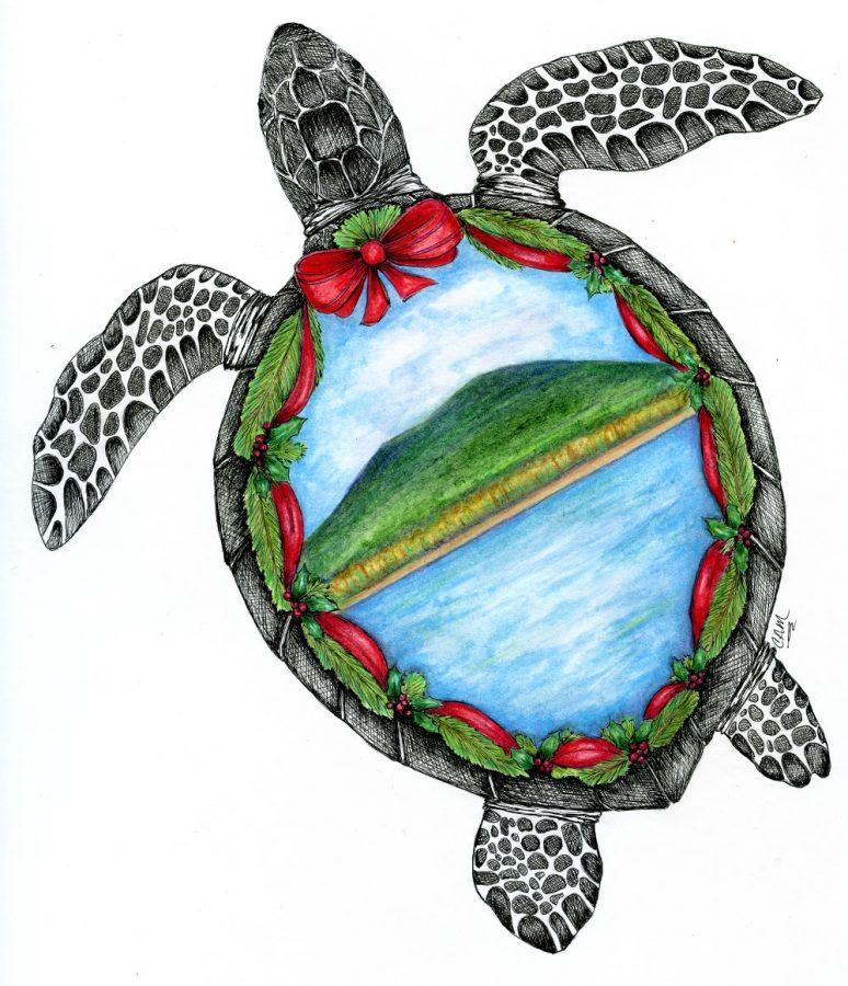 Christine Mathas ornament design for the Sea Turtle Conservancys Christmas 2016 Holiday Ornament.