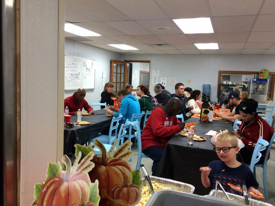 One of the dinners took place at the Emergency Shelter where students prepared and served the dinner.