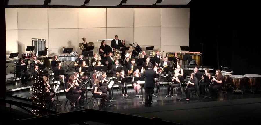 The Wind Ensemble in the Performing Arts Center during their fall concert of last year.