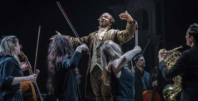 """Lucian Msamati, as court composer and Mozart's rival, Antonio Salieri, in """"Amadeus."""""""