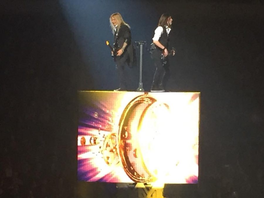 Two of the members of the Trans-Siberian Orchestra perform at Erie Insurance Arena on Nov. 16.