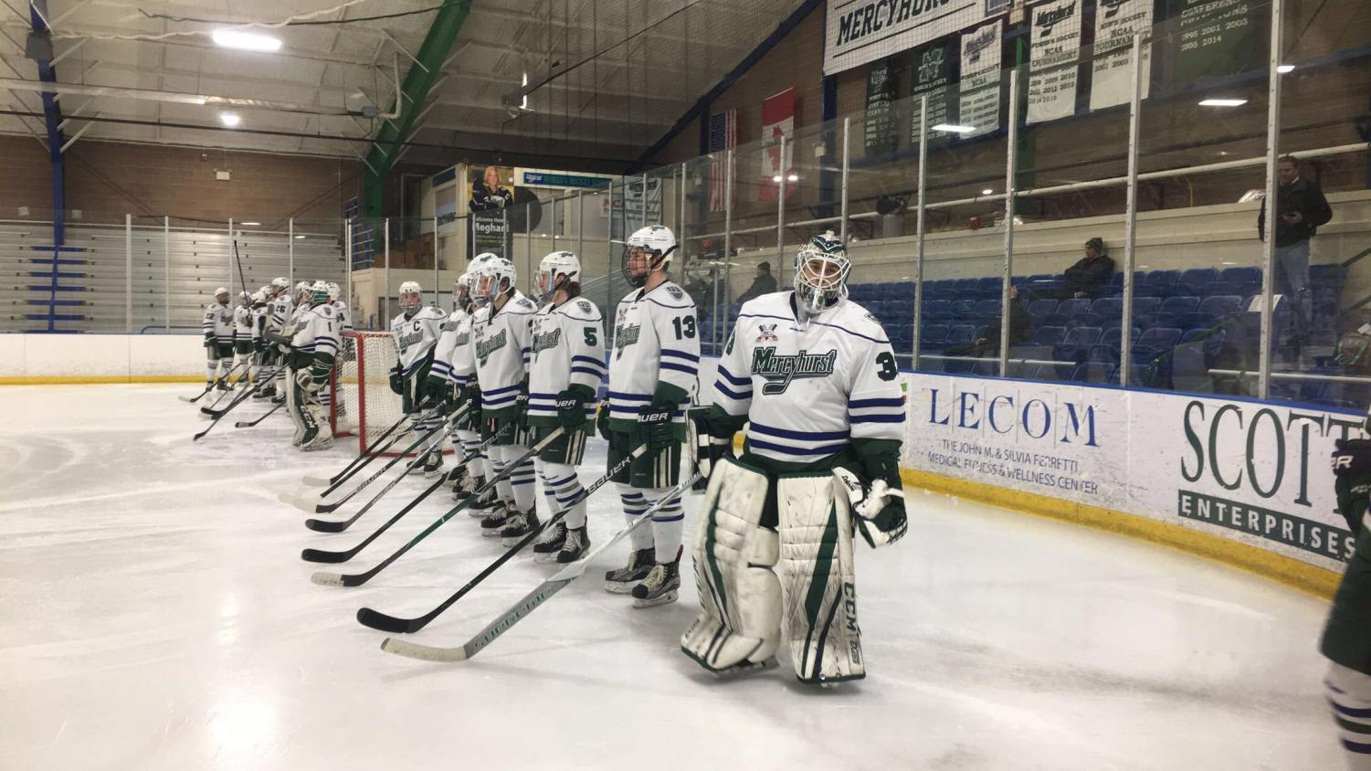 The Lakers line up before their game Feb. 17 in the Mercyhurst Ice Center.  The Lakers beat Robert Morris University twice, including a 3-2 overtime win.