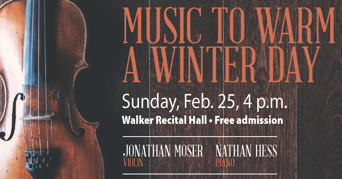 The faculty recital series continues with Jonathan Moser's recital on Feb. 25 at 4 p.m.