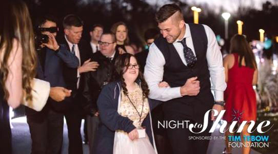 The Tim Tebow Foundation sponsors the Night to Shine, an event that has begun to spread throughout the United States and international community.