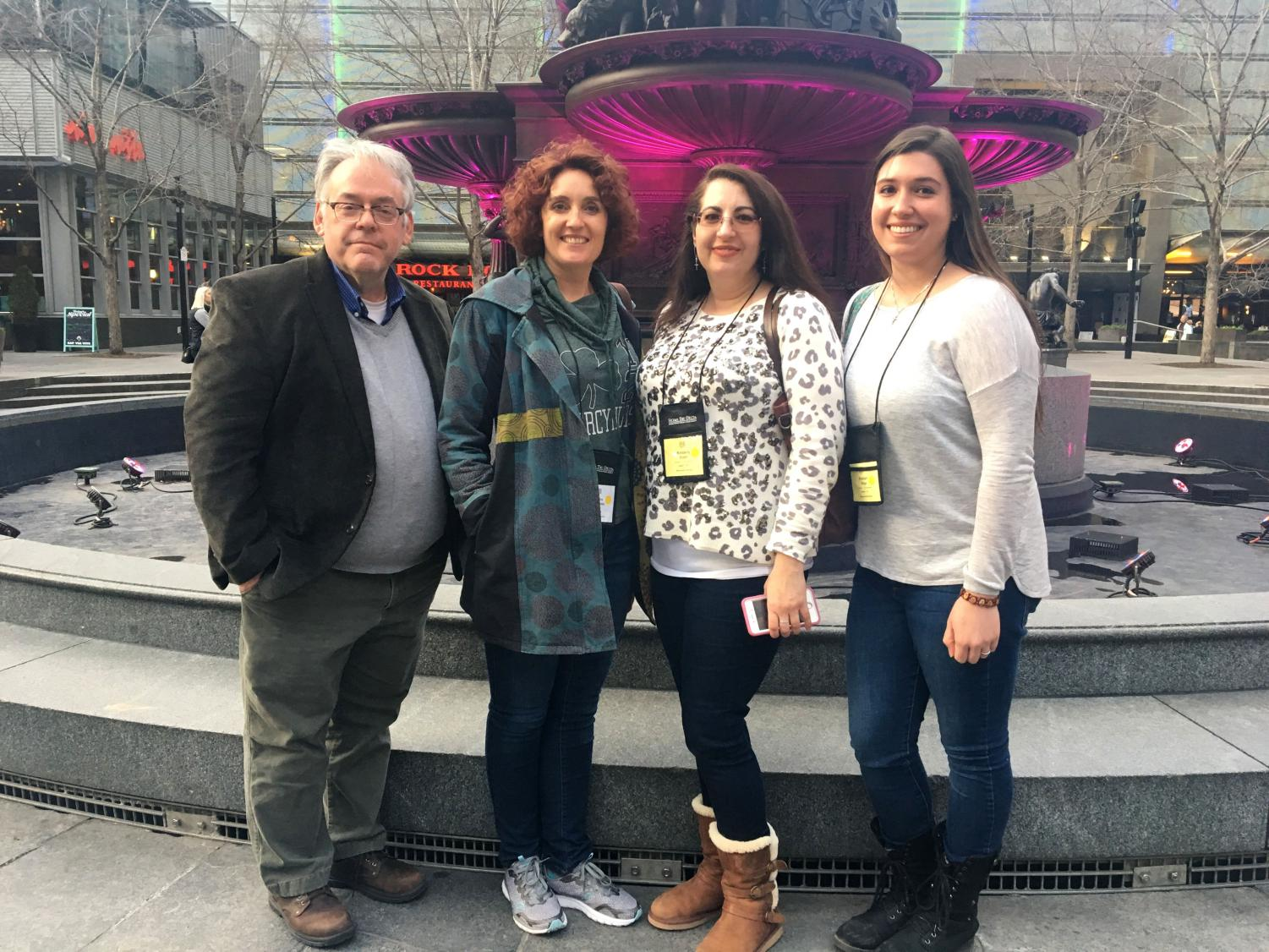 From left, Brian Reed, Ph.D., and students Audra Alexander, Kimberly Kuehl and Kristian Biega attended a conference in Cincinnati, Ohio.