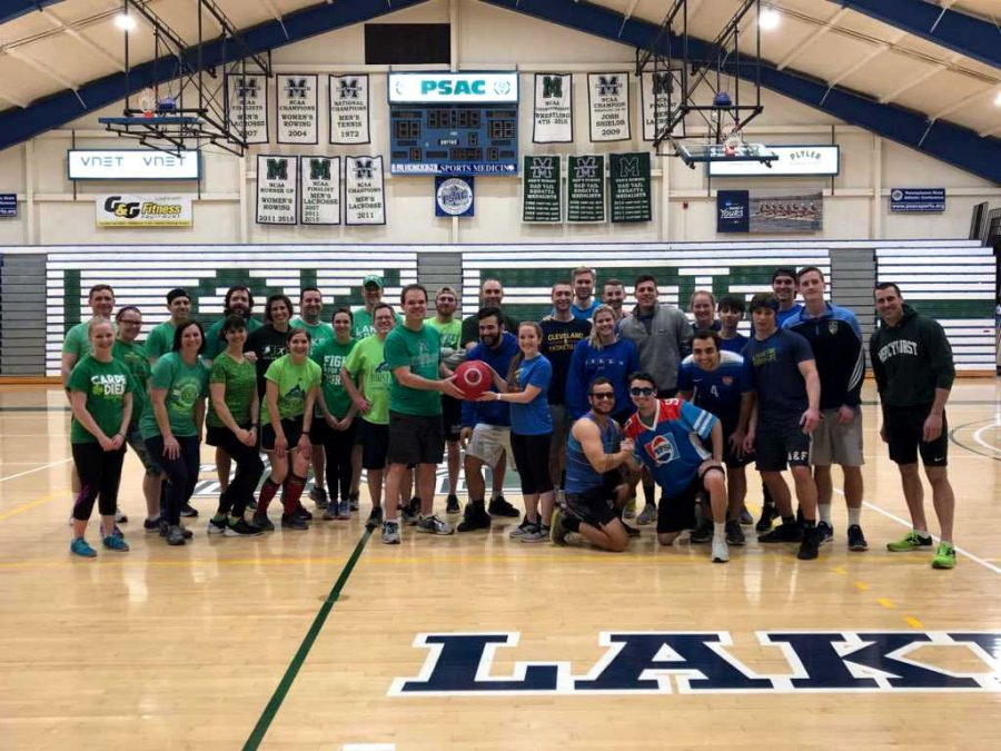 Faculty+and+staff+get+ready+to+face+off+against+the+senior+team+in+a+kickball+game+to+raise+money+for+the+Class+of+2018+Senior+Gift%2C+the+Sister+Lisa+Mary+McCartney+scholarship.+