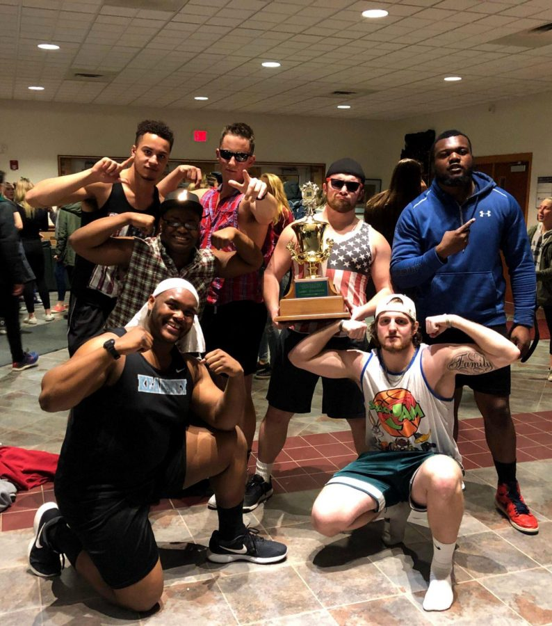 The football team was very excited to take first place with their rendition of SpongeBob and Boys in Motion.