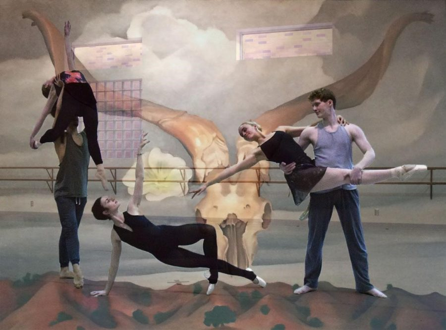 The cast of Kerry Schroeder's work is shown with a Georgia O'Keeffe painting. From left: senior Audrey Davison, junior Lucas De Marinis, sophomore Megan Carnuche, senior Elizabeth Hite, junior Roman Hall.