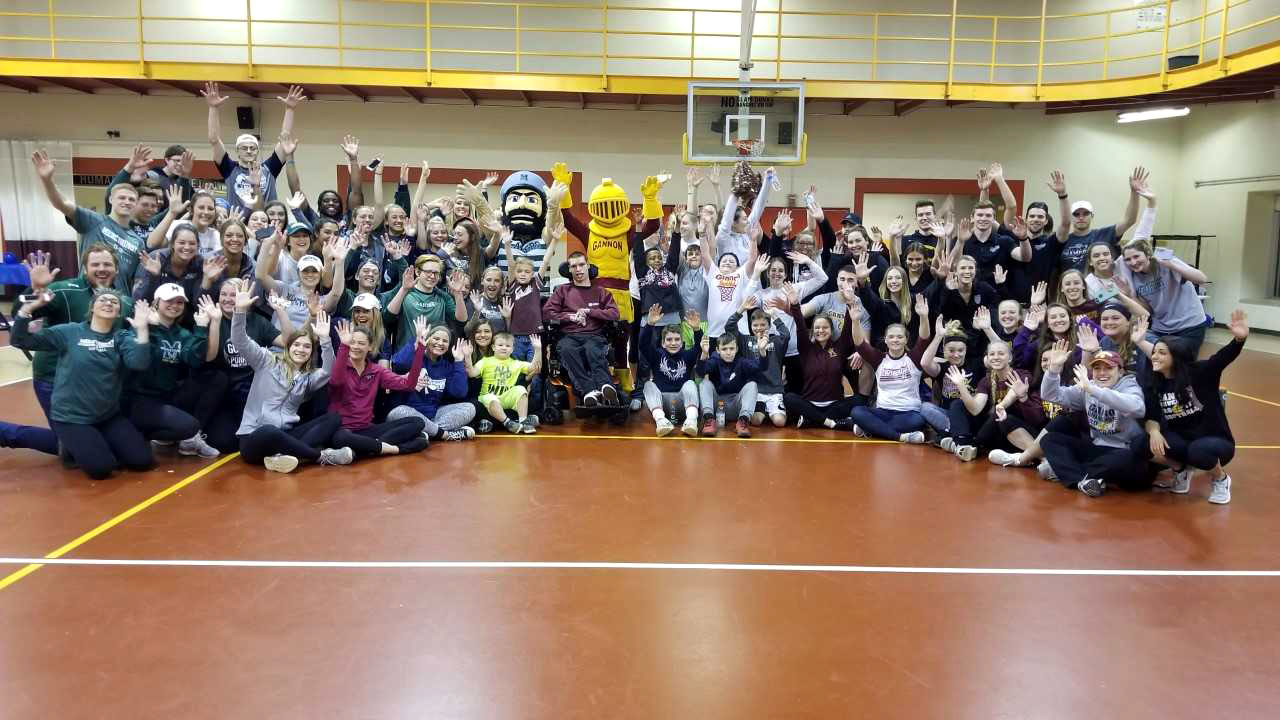 Student athletes from Mercyhurst and Gannon raised money for the Make-A-Wish Foundation. Events included dodge ball, a tug-of-war, backyard games, doughnut eating and more.