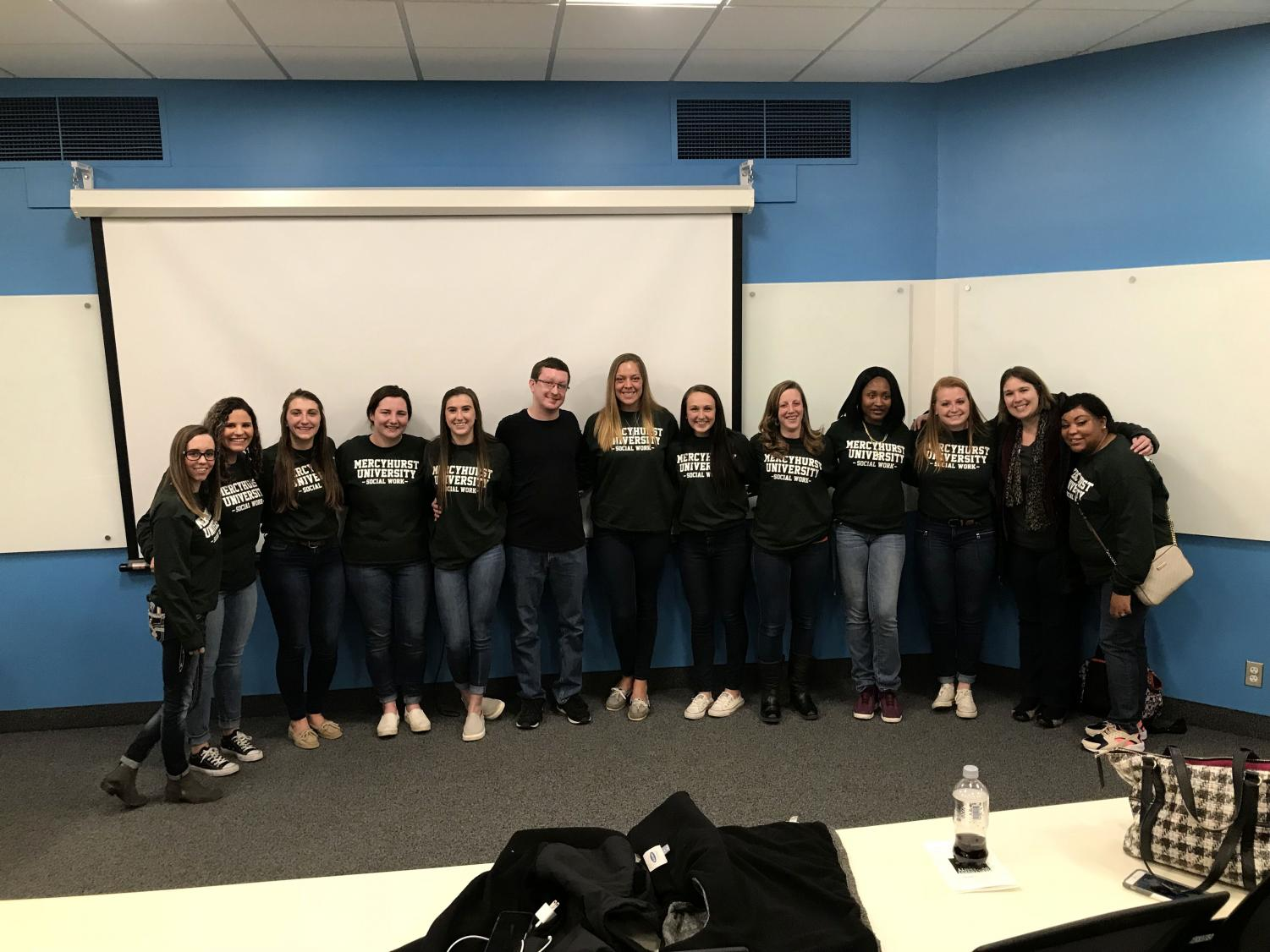 """The Social Work students who created the documentary """"It Can Happen To Anyone"""" are joined by Communication student Brent Clapper, who assisted with editing."""