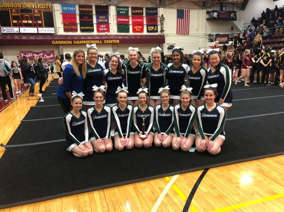 The Mercyhurst Cheerleading team poses after the competition Saturday.