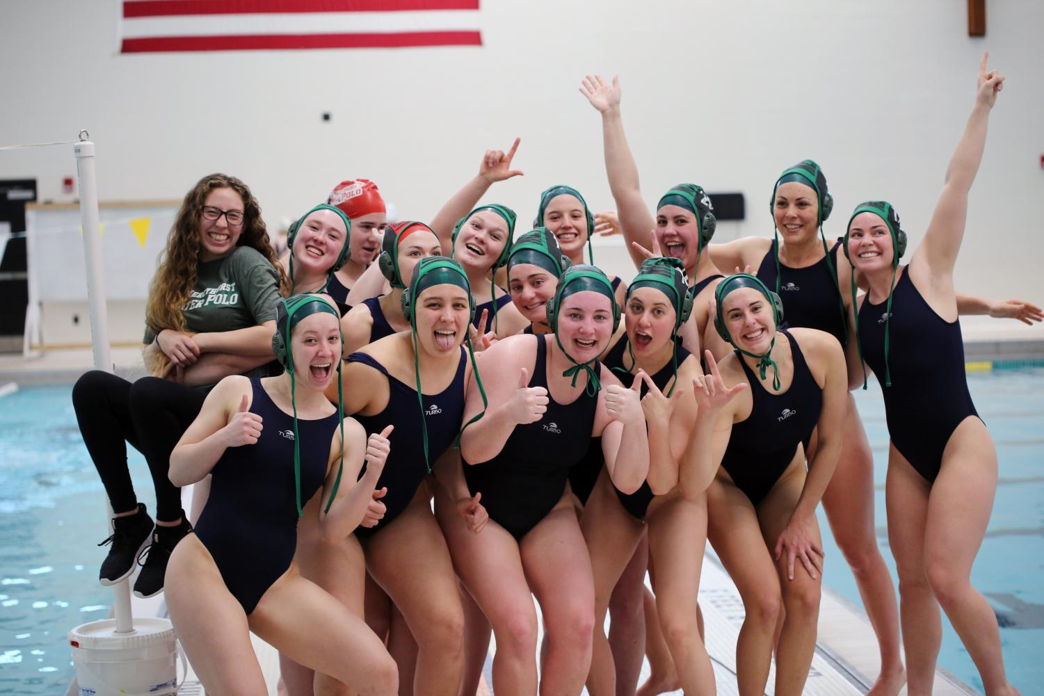 The women's water polo team poses for a photo after their finish at the WWPA Championships.