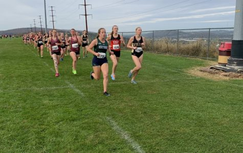 The Lakers' Caitlyn Eschweiler leads a segment of the women's race on Oct. 25.  The women's team placed 15th out of 17, while the men's placed 13 out of 15 on the day.