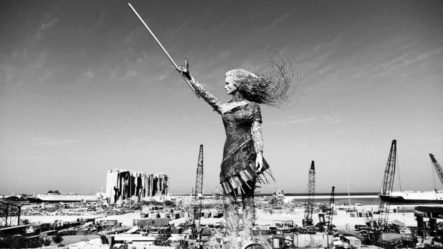Symbolic statue created from the rubble of Beirut explosion